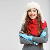 Casual winter style yong woman portrait. Girl studio isolated, — Stock Photo