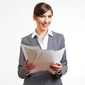白で隔離されるビジネスの女性の肖像画 — ストック写真