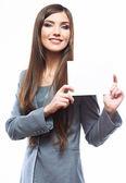 Mujer de negocios de sonrisa diente mantenga banner, blanco fondo retr — Foto de Stock