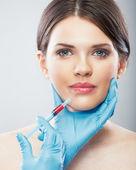 Female lips surgery — Stock Photo