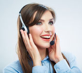 Smiling woman call center operator touching headsed. Close up b — Stock Photo