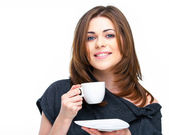 Woman with coffee cup isolated — Stock Photo