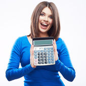 Woman holding digital calculator — Foto Stock