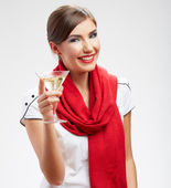Smiling woman with martini glass — Stock Photo