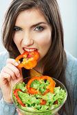 Woman eating green salad — Stock Photo