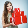Woman holding gift box — Stock Photo #34523337
