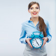 Business time concept woman portrait. Young business model show — Stock Photo #34523689