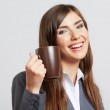 Portrait of business woman with cup — Stock Photo