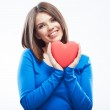 Smiling young woman hold red heart, Valentine day symbol. Girl — Stock Photo #34524687