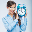 Business time concept woman portrait. Young business model show — Stock Photo #34525945