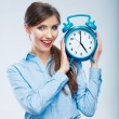 Stock Photo: Business time concept woman portrait. Young business model show