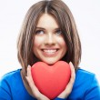 Smiling young woman hold red heart, Valentine day symbol. Girl — Stock Photo #34526291