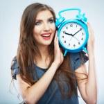 Woman holding clock — Stock Photo #34526683