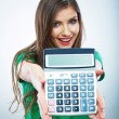 Woman holding calculator — Stock Photo