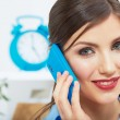 Smiling business woman on phone at office. Close up female port — Stock Photo