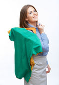 Smiling businesswoman with clothes — Stock Photo
