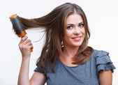 Beautiful young woman with problematic hair — Stock Photo
