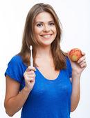 Donna con trentadue denti spazzola — Foto Stock