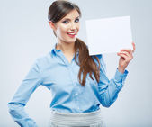 Business woman hold banner, white background portrait. Female — Stock Photo