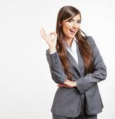 Biznes kobieta wyświetlone ok znak — Zdjęcie stockowe