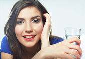 Close up portrait of woman drinking water — Stock Photo