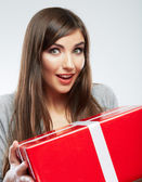 Close up portrait of woman holding gift box — Stock Photo
