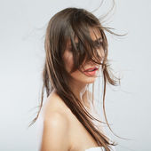 Woman with hair motion — Stock Photo