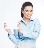 Business woman holding paper banner — Stock Photo
