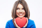 Smiling young woman hold red heart, Valentine day symbol. Girl — Stock Photo