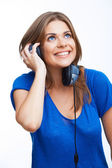Woman listening music — Stockfoto