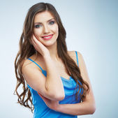 Woman in blue evening dress — Stock Photo