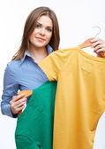 Businesswoman holding clothes — Stock Photo