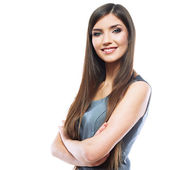 Portrait of smiling business woman with crossed arms — Stock Photo