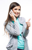 Portrait of woman using phone with thumb up — Stock Photo