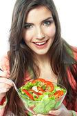 Kobieta jedzenie sałatka — Zdjęcie stockowe