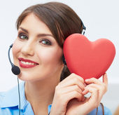 Portrait of call center smiling operator with phone headset iso — Stock Photo