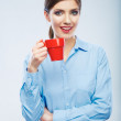Business woman portrait hold red coffee cup. — Stock Photo #34530893