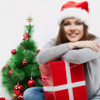 Happy woman in Santa hat — Stock Photo