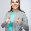 Portrait of woman with thumbs up — Stock Photo #34532693