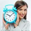 Business woman with time concept — Stock Photo
