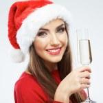 femme en bonnet de tenir le verre de champagne — Photo
