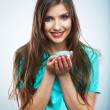 Young woman hold skin care cosmetic. Clean skin. Beauty female — Stock Photo #34533693