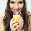 Close up portrait of woman drinking juice — Stock Photo #34534389