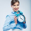 Business time concept woman portrait. Young business model show — Stock Photo