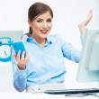 Portrait of happy surprised business woman on phone in white of — Stock Photo