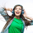 Young woman with headphones — Stok fotoğraf