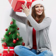 Happy woman in Santa hat — Stock Photo #34537515