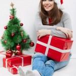 Happy woman in Santa hat — Stock Photo
