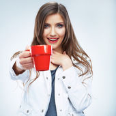Smiling woman with coffee cup — Stock Photo
