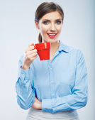 Business woman portrait hold red coffee cup. — Stock Photo